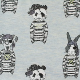 Oeko-Tex Light sweater cotton fabric Stenzo pirate animal - light blue x 20cm
