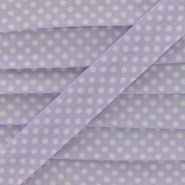 Biais tout textile à pois 18mm - blanc/lilas x 1m