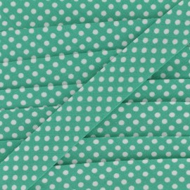 Cotton bias binding, with white polka dots - white/mint x 1m