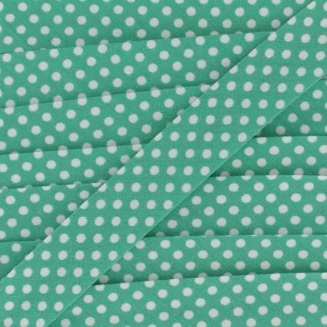 Biais tout textile à pois 18mm - blanc/menthe x 1m