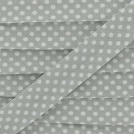 Biais tout textile à pois 18mm - blanc/perle x 1m