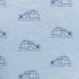 Tissu Oeko-Tex coton sweat léger Stenzo 2cv - bleu x 10cm