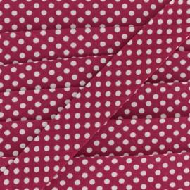 Biais tout textile à pois 18mm - blanc/cerise x 1m