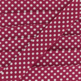 Cotton bias binding, with white polka dots - white/cherry x 1m