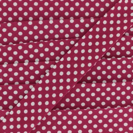 Cotton bias binding, with white polka dots - white/cherry x 1m