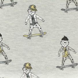 Tissu Oeko-Tex coton sweat léger Stenzo skate boys - gris x 10cm