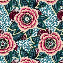 Tissu Coton imprimé Dahlia - emeraude x 10cm
