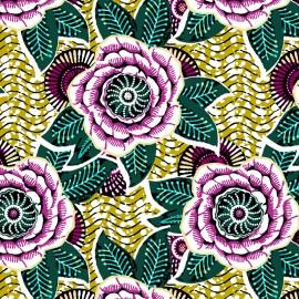 Tissu Coton imprimé Dahlia - citron x 10cm