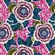 Tissu Coton imprimé Dahlia - rose x 10cm