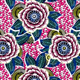 Printed coton fabric - rose x 10cm