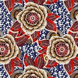 Tissu Coton imprimé Dahlia - bleu x 10cm