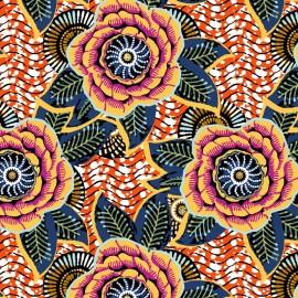 Tissu Coton imprimé Dahlia - orange x 10cm