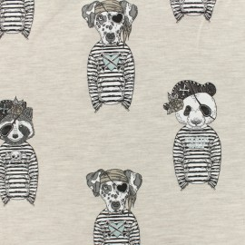 Oeko-Tex Jersey cotton fabric Stenzo sailor animal - light brown x 20cm