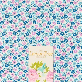 Tissu coton Tilda LemonTree collection - Flowerfield bleu x 10cm
