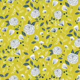 Tissu coton Dashwood Flock - floral lime x 10cm