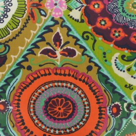 Tissu coton enduit - Dahlia multicolore x 50cm