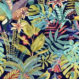 Tissu toile jacquard Sumatra -outremer x 55cm