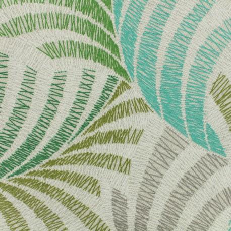Tissu cretonne enduit - Coucou vert x 50cm