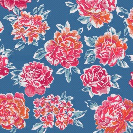 Tissu toile jacquard miu-miu- bleu x 55cm