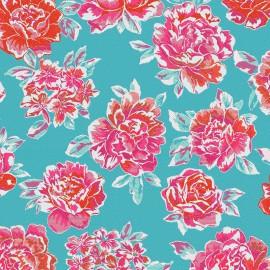 Jacquard Canvas Fabric miu miu turquoise x 55cm