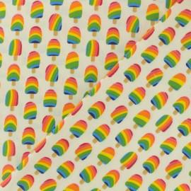 Tissu coton enduit Arc-en-ciel glace - ivory x 10cm