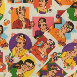 Tissu coton cretonne Frida - multi x 10cm