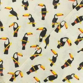 Tissu coton enduit Toucans - ivoire x 10cm