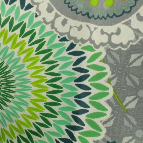 Tissu coton enduit - Colima vert/gris x 50cm
