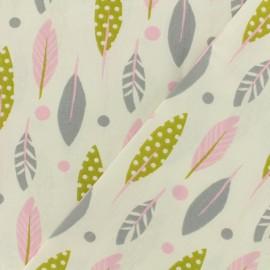 Tissu cretonne  - Plumette rose x 15cm