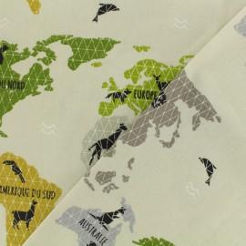 Tissu cretonne  - Planisphère vert x 20cm