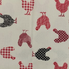 Coated fabric Red chicken - ivory background x 10cm