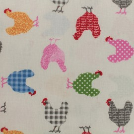 Coated fabric Multico chicken - ivory background x 10cm