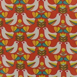 Coated fabric Birdy - orange background x 10cm
