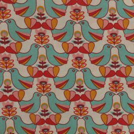 Tissu coton enduit Birdy - ivoire x 10cm