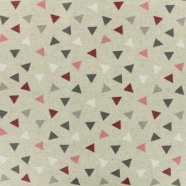 Tissu enduit coton cretonne Pyramines - bordeaux x 10cm