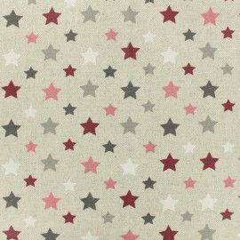Coated cotton fabric Starry - burgundy x 10cm