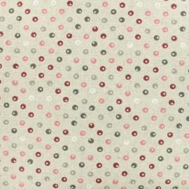 Tissu enduit coton cretonne Perles - bordeaux x 10cm