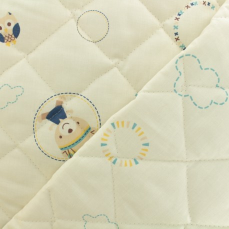 Quilted cotton fabric Baby cot Tipi - blue x 10cm