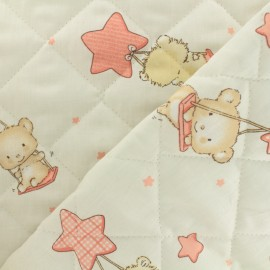 Quilted cotton fabric Baby cot Pimpin - corail x 10cm