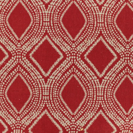 Poly cotton fabric Linnen - red x 10cm