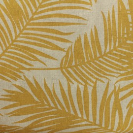 Tissu Oeko-Tex Polycoton Linnen Palm- moutarde x 10cm
