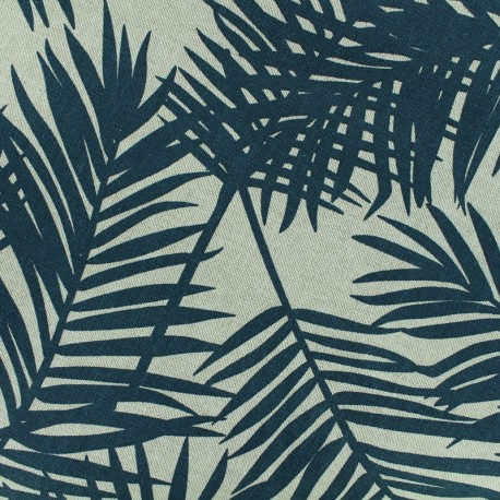 Poly cotton fabric Linnen Palm - blue oil x 10cm