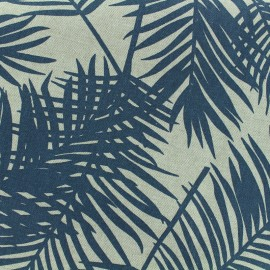 Poly cotton fabric Linen Palm - dark blue x 10cm