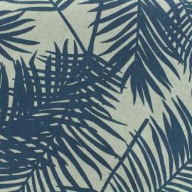 Tissu Polycoton Linen Palm- bleu x 10cm