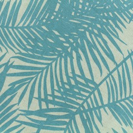 Poly cotton fabric Linen Palm - aqua x 10cm