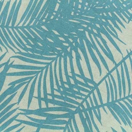 Tissu Oeko-Tex Polycoton Linnen Palm- aqua x 10cm