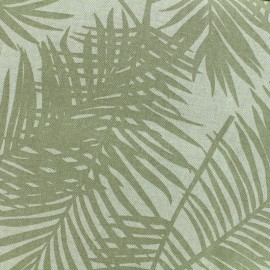 Poly cotton fabric Linen Palm - seigle x 10cm