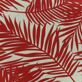 Poly cotton fabric Linen Palm - red x 10cm