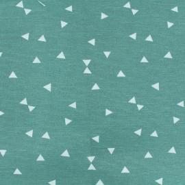 Tissu Oeko-Tex Polycoton Triangles blanc - eau sauvage x 10cm