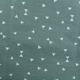 Tissu Oeko-Tex Polycoton Triangles blanc - vert de gris x 10cm